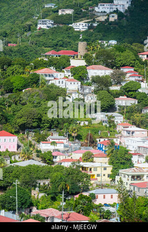 Overlook over Charlotte Amalie capital of St. Thomas, US Virgin Islands - Stock Photo