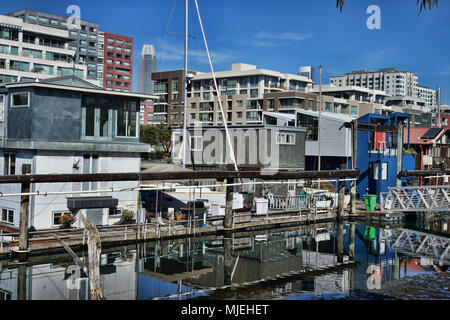 Views of Mission Creek House Boats in San Francisco - Stock Photo