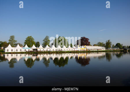Gloucestershire, UK. 5th May 2018. A general view of the hospitality marquees at the 2018 Mitsubishi Motors Badminton Horse Trials, Badminton, United Kingdom. Jonathan Clarke/Alamy Live News - Stock Photo