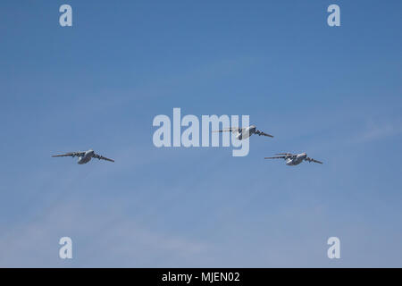 Moscow, Russia. 4th May, 2018. Russian Air Force Il-76 military transport aircraft fly in formation during a rehearsal of the upcoming Victory Day air show marking the 73rd anniversary of the victory over Nazi Germany in the 1941-45 Great Patriotic War, the Eastern Front of World War II. Credit: Victor Vytolskiy/Alamy Live News - Stock Photo