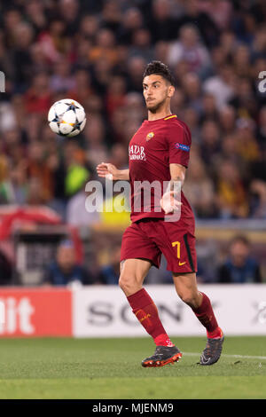 Lorenzo Pellegrini of Roma    during the Uefa ' Champions League ' Semi-finals , 2st leg, match between Roma 4-2 Liverpool FC  at Olimpic Stadium on May 2, 2018 in Roma, Italy. (Photo by Maurizio Borsari/AFLO) - Stock Photo