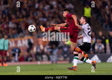 Cengiz Under of Roma    during the Uefa ' Champions League ' Semi-finals , 2st leg, match between Roma 4-2 Liverpool FC  at Olimpic Stadium on May 2, 2018 in Roma, Italy. (Photo by Maurizio Borsari/AFLO) - Stock Photo