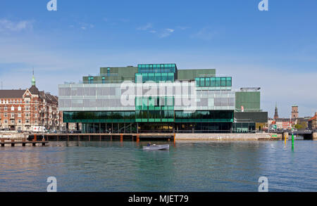 Copenhagen, Denmark. 5th May, 2018. The BLOX building, a new prestige building for architecture and design on Christians Brygge at the waterfront at Frederiksholm Canal next to the Black Diamond in the inner harbour. The building houses the Danish Architecture Centre and a number of companies working with future solutions for cities. The building was inaugurated by H.M. Queen Margrethe II yesterday - today open house to a festive opening day. BLOX is the original name of the old brew-house property where it is situated. Architects OMA. Credit: Niels Quist/Alamy Live News - Stock Photo