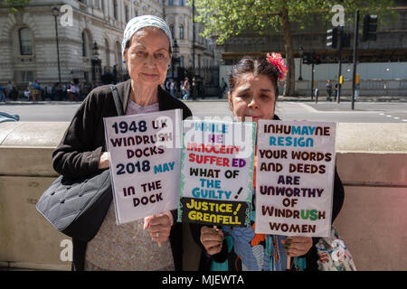 London, UK, 5th May 2018, Demonstrators attend a march for Windrush opposite Downing Street in an attempt to overturn the governments immigration policy stating Theresa May's current policy is racist. Credit: adrian looby/Alamy Live News - Stock Photo