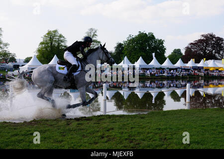 Gloucestershire, UK.5th May 2018. Oliver Townend riding Ballaghmor Class during the Cross Country Phase of the 2018 Mitsubishi Motors Badminton Horse Trials, Badminton, United Kingdom. Jonathan Clarke/Alamy Live News - Stock Photo