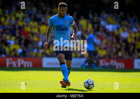 London, UK. 5th May, 2018. Jamaal Lascelles of Newcastle United in action. Premier League match, Watford v Newcastle United at Vicarage Road in Watford, London on Saturday 5th May 2018.  this image may only be used for Editorial purposes. Editorial use only, license required for commercial use. No use in betting, games or a single club/league/player publications. pic by Steffan Bowen/ Andrew Orchard sports photography/Alamy Live news - Stock Photo