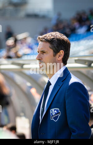 Montreal, Canada. 5 May, 2018. Montreal Impact head coach Rémi Garde before the initial kickoff of the 2018 Major League Soccer regular season match between the Montreal Impact and the New England Revolution, at Stade Saputo. Credit: Pablo A. Ortiz / Alamy News Live - Stock Photo