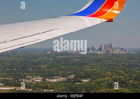 Atlanta, Georgia - A Southwest Airlines jet on final approach for landing at the Atlanta airport. - Stock Photo