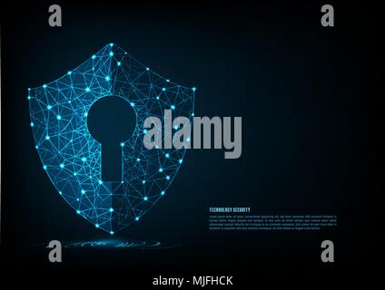 Cyber security concept: Shield With Keyhole icon on digital data background. Illustrates cyber data security or information privacy idea. Blue abstrac - Stock Photo