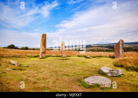 Machrie Moor 2 stone circle, a 4000 year old megalithic monument on the island of Arran, North Ayrshire, Scotland. - Stock Photo