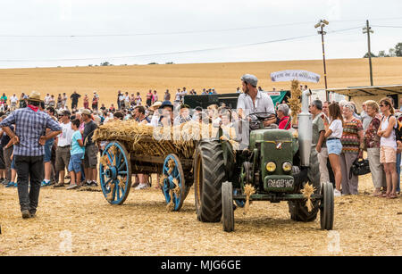 Fete De La Moisson Valennes Sarthe France agricultural festival in which farmers show off their past and present agricultural way of life. - Stock Photo