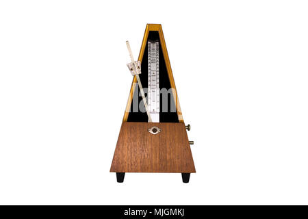 Vintage Metronome Isolated On White Background. Musical Equipment - Stock Photo