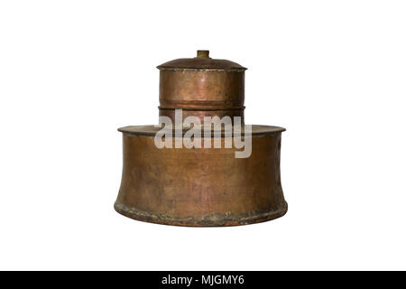 Alcohol Distillery For Making Schnapps, Whiskey, Brandy. Traditional Copper Set - Stock Photo