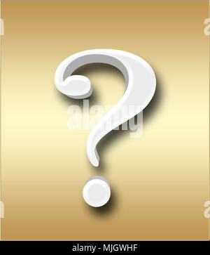 Stock Illustration - Large Three Dimensional White Question Mark , 3D Illustration, Isolated against the  Golden Background. - Stock Photo