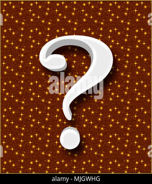 Stock Illustration - Large Three Dimensional White Question Mark , 3D Illustration, Isolated against the Background. - Stock Photo