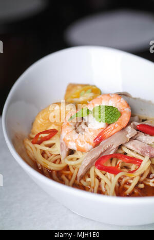 Prawn noodle - Malaysian food spicy noodles. - Stock Photo