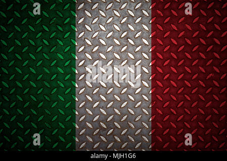 italy Flag Seamless steel diamond plate - Stock Photo