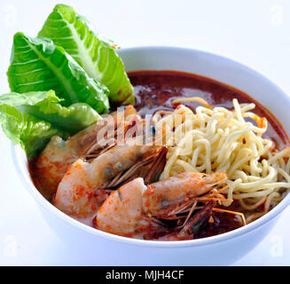 Prawn noodle - Malaysian food spicy noodles - Stock Photo