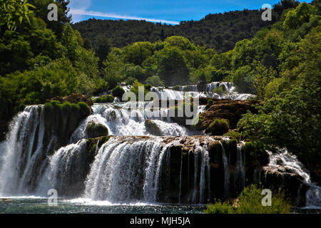 Paradise landscape with waterfalls in Krka National Park in summer in Croatia - Stock Photo