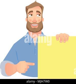 Man holding blank banner - Stock Photo