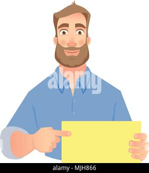 man holding blank sign - Stock Photo