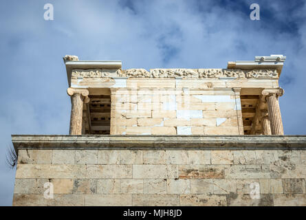 Side view of temple of Athena Nike in Acropolis of Athens city, Greece - Stock Photo