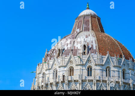 Dome of the Pisa Baptistery at Piazza dei Miracoli (Square of Miracles) in Italy - Stock Photo