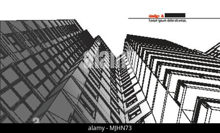 Urbanistic skyscraper. Abstract 3D render of building wire frame structure. Vector construction graphic idea for template design.Modern Building.Perspective city wiev, wide angle. - Stock Photo