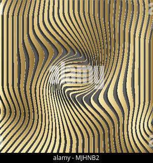 Gold abstract stripe pattern background.Optical illusion, twisted lines, abstract curves background. The illusion of depth and perspective.Abstract 3d vector illustration. Eps 10. - Stock Photo