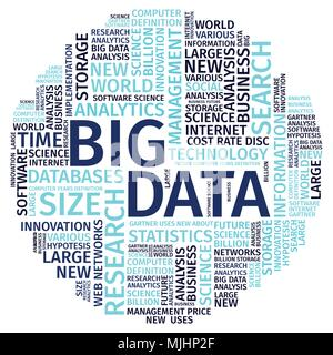 Text Composition Word Cloud Big Data Vector Illustration . - Stock Photo