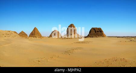 Nuri pyramids in desert, Napata Karima region , Sudan - Stock Photo