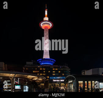 View of the famous Kyoto Tower at night, Japan - Stock Photo