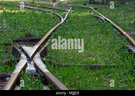 Disused train station and tracks. Photographed in Hadera, Israel - Stock Photo