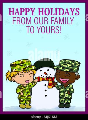 Card designed for social media messaging during the holidays. The graphic features a U.S. Army Soldier and U.S. Air Force Airman with a snowman wearing a scarf and helmet. Both an Airman and Soldier were depicted to represent the joint nature of Joint Base Langley-Eustis, Va. Members were encouraged to share the card to wish their family and friends a happy holiday season. (U.S. Air Force graphic by Staff Sgt. Areca T. Bell) - Stock Photo