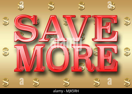Stock Illustration - Large Metallic Text: Save More, 3D Illustration, Small Golden Dollar Currency Signs In the Golden Background. - Stock Photo