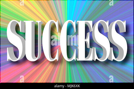 Stock Illustration - Large White Three Dimensional Text: Success, 3D Illustration, Bright Right Angle Banner Sign. - Stock Photo