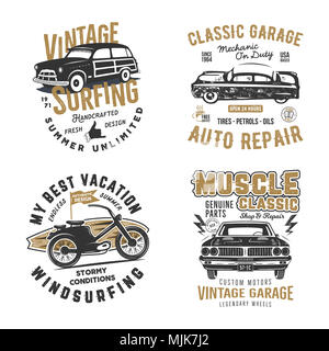 Vintage hand drawn tee prints set. Surf print design, old garage, car service, auto repair emblems patches. Summer t shirt print concepts isolated on white. Stock labels. Letterpress effect - Stock Photo
