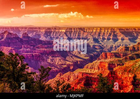 Sunrise over the Grand Canyon; beautiful oranges, reds, blues and purple canyon colors with red orange sky. - Stock Photo
