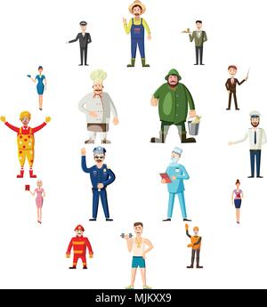 Professions icons set in cartoon style. Worker set collection isolated vector illustration - Stock Photo