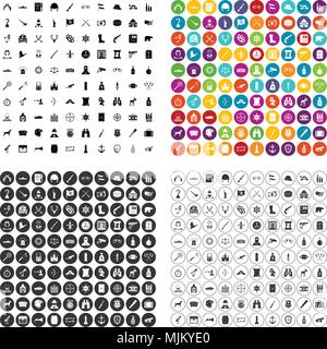 100 guns icons set vector in 4 variant for any web design isolated on white - Stock Photo