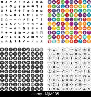 100 happy childhood icons set vector in 4 variant for any web design isolated on white - Stock Photo
