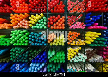 Colorful plastic pens close-up - Stock Photo