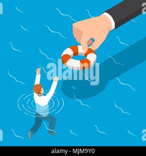 Flat 3d isometric big hand giving a lifebuoy to help businessman. Helping business to survive concept. - Stock Photo