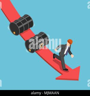 Flat 3d isometric businessman running away from falling oil barrels on the red graph. Decreasing of oil price and petroleum industry concept. - Stock Photo