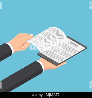 Flat 3d isometric businessman hands open ebook on digital tablet. E-book and e-learning concept. - Stock Photo