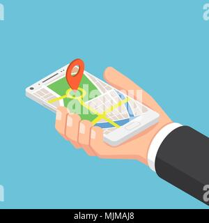 Flat 3d isometric businessman hand holding smartphone with pinpoint on the map application. Mobile gps map navigation concept. - Stock Photo