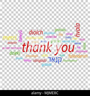 Colorful thank you in many languages vector icon. Global thank you text flat vector illustration. Business concept pictogram on isolated transparent b - Stock Photo