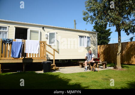 British Holiday, Luxury static caravan, family holiday home - Stock Photo