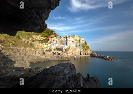 View of Manarola from the grotto, La Spezia district, Liguria, Italy - Stock Photo