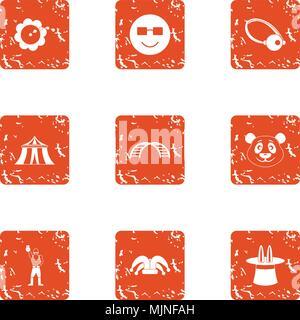 Circus style icons set, grunge style - Stock Photo